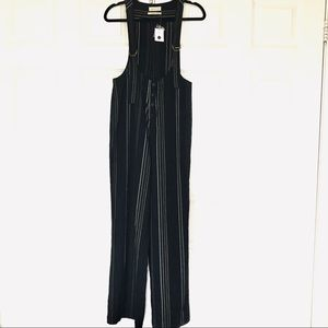 URBAN OUTFITTERS Black Jumpsuit Pinstripe Low Neck
